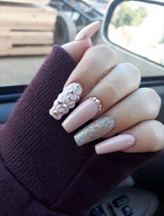 Nail art Christmas - the festive spirit on the nails. Over 70 creative ideas and tutorials - My Nails Perfect Nails, Gorgeous Nails, Pretty Nails, 3d Nail Designs, Acrylic Nail Designs, Aycrlic Nails, Bling Nails, Best Acrylic Nails, Nagel Gel