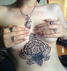 mandala tattoo on sternum - love it, but I'd probably do a bee or a moth