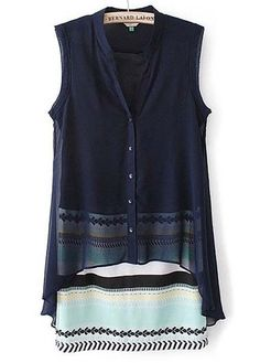 Mandarin Collar Sleeveless Navy Blue Dress | Rosewe.com