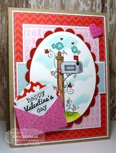 Valentine Mail Card by Kerri Michaud #Cardmaking, #ValentinesLove, #TE, #ShareJoy