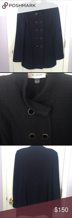 St John Knit Black Topper St John Knit black Topper in size 4. Double breast Topper may be worn open for a different look. Black enamel buttons with gold trim. This has been gently worn no holes or odors. Made in the USA of imported components 62% rayon 37% wool 1% nylon St. John Jackets & Coats Blazers