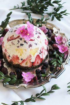 Recipe; Raw fruit + coconut ice cream cake with brownie crust ~