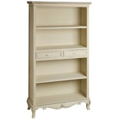 French Country Cream & Wood Large Bookcase With Drawers