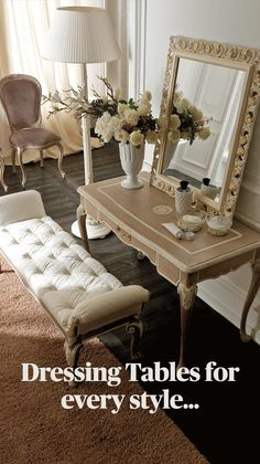 Classic Dressing Tables, Small Dressing Table, Dressing Table Design, Bedroom Sets, Bedroom Decor, Bedding Sets, Master Bedroom, Luxury Homes Dream Houses, Luxurious Bedrooms