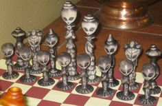 polymer clay chess set   Details about RARE! ALIEN Chess Set Space Alien Chess Pieces