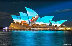 Sydney Harbour – the stunning Opera House lit up in style by a projection from across the harbour
