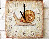 Сделано на заказ Браун Улитка на стене часы, OOAK Home Decor для детей Детские Малыш мальчик девочка Питомник игровая комната