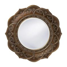 Howard Elliott Erica Flower Mirror with Silver Highlights - 22 diam. Rustic Wall Mirrors, Wood Framed Mirror, Round Wall Mirror, Wall Mounted Mirror, Round Mirrors, Mirror Mirror, Wood Wall, Mirror Ideas, Mirror Collage