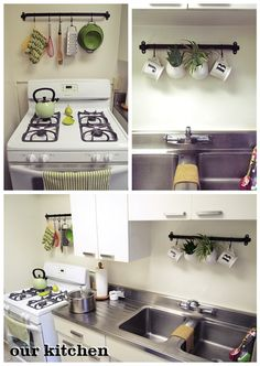 hang mugs about sink oven mitts about stove and pots on long wall - Kitchen Sink Decor