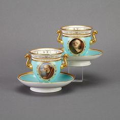 "Pair of Flight, Barr & Barr Worcester 'Jeweled' Cabinet Cups and Stands, c.1813-20 'The Bard from Gray' and 'The Monk from Sterne', one cup chipped, diameter 5.4"" - 13.8 cm., printed and painted marks and titles in redProvenance: Property from the Estate of Robertson Davies, Toronto"