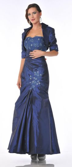 Strapless Mother of Bride Royal Blue Dress Includes Bolero Jacket $207.99