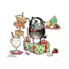 No automatic alt text available. Pug Illustration, Pug Cartoon, Pug Christmas, Xmas, Pugs And Kisses, Pug Art, Pet Fox, Baby Puppies, Pug Love