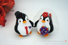 Penguin Wedding Cake Toppers Red Theme-Love Bird Wedding Cake Toppers With Orchids Flowers