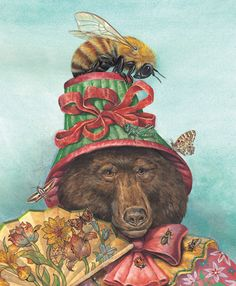 Wallace Edwards | WATERCOLOR - COLORED PENCIL - GOUACHE | Bee In Her Bonnet