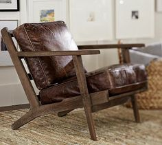 Raylan Leather Armchair #potterybarn Looks familiar, Honduras mahogany and hemp original from john moyer imports