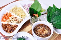 Thai Leaf Wrapped Bite-Size with Herbs (Appetizer) - Miang Kam - FoodTravel.tv Recipe