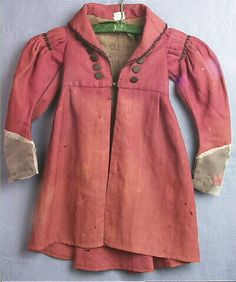 Boy's Coat, reddish-brown wool, black braided trim, 1837.