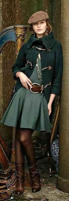 Ralph Lauren Style Guide..the fit 'n flare mini dress, cardigan, tights, beret, and low cut boots will take you on a chic walk around anywhere.  Long silver chains + a large brown belt make it preppy-chic