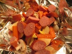polish sausage, potatoes, carrots, onions, yum yum!