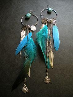 Boucles d'oreille bohemienne plumes bronze anneaux