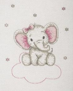 Elephant on Clouds (Pink) Cross Stitch Kit