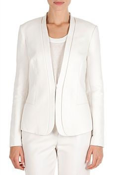 DOUBLE CLOTH SUIT JACKET  AUD$299.00  Our tailored career blazer in a stretch cotton blend features a streamlined lapel and a slim fit. Pair it with a matching suit pant and add a silk blouse.