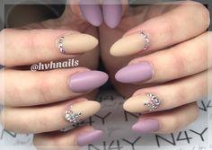 Gel polish in purple and nude