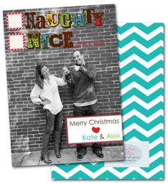 holiday photo cards christmas cards christmas photo cards chevron photo cards naughty - Naughty Or Nice Christmas Card