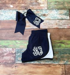 Monogrammed Running Shorts, and Monogrammed Cheer bow Monogrammed Gift Set.  Monogrammed gifts for girls, teen girls, ladies, women. Preppy