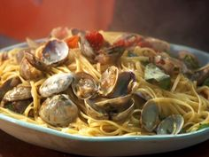 Cherry Tomato Red Clam Sauce with Linguini from FoodNetwork.com  This is a great recipe full of goodness, especially when the pasta is whole wheat and butter substitute is used instead of real butter or if unsalted butter is used.