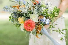 Julia Faye Photography//Whimsical Peach and blue bridal bouquet