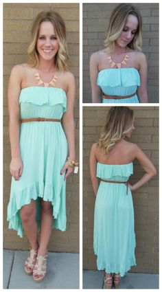 This aqua dress is great for dressing down.