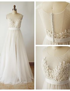 A-line Wedding Dress - Champagne Sweep/Brush Train Scoop Lace 2016 - $149.99