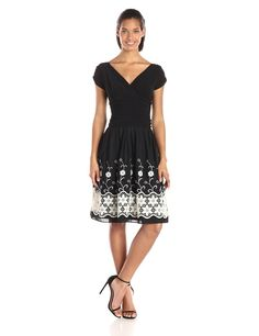 Knit Top Embroidered Lace Skirt Party Dress by S.L. Fashions