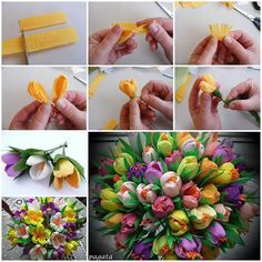 DIY Beautiful Bouquet of Crepe Paper Crocuses Beautiful Bouquet of Crepe Paper Crocuses. Paper flowers in yellow, pink and purple. Great for wedding bouquetDIY Beautiful Mushroom House Candle Holder from a JarImages via: sdelaisam To make flowers of Fake Flowers, Diy Flowers, Fabric Flowers, Spring Flower Bouquet, Spring Flowers, Tulip Bouquet, Paper Bouquet, Easter Flowers, Tissue Paper Flowers