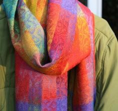 Handwoven, hand dyed silk scarf with painted warp