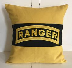 """US Army Ranger Pillow Cover 18"""" Black Gold EMBROIDERED & APPLIQUE appliqued -- perfect for Ranger School graduation or retirement gift"""