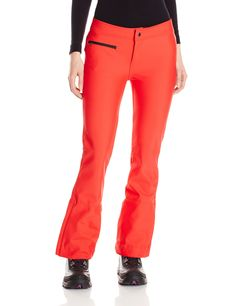 Obermeyer Women's Bond II Pant, True Red, 10. High back waistband. Zippered, tricot-lined hand warmer pocket. Zip hem gussets.