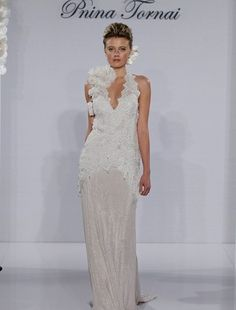 Pnina Tornai - V-Neck Sheath Gown in Beaded Lace