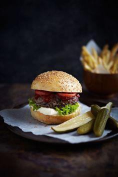 Bazinga brioche  burger buns, big bad brutus burgers, catch up ketchup & poppa peppers pickles.