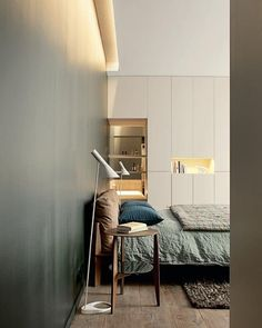 The AJ Floor Lamp is a great alternative to more traditional bedroom lighting.