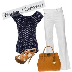 weekend getaway by fifty-and-fabulous on Polyvore --I'd wear much lower heels in same color.