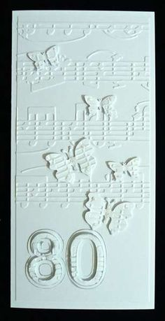 Embossed White On 80th Birthday Card