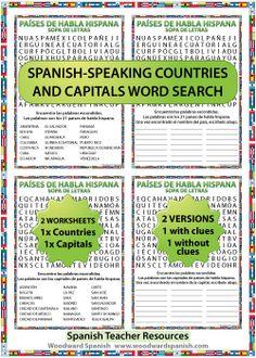 21 Spanish-speaking countries and capitals word search - Sopa de letras de los países de habla hispana y sus capitales