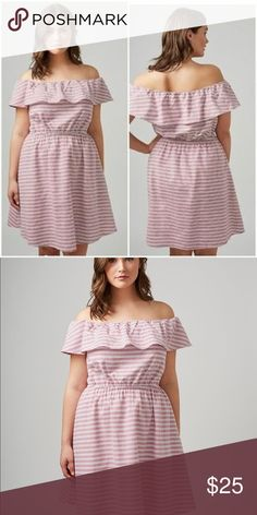💖CUTE! 🎀 Striped Off The Shoulder Red Dress Off the shoulder striped dress can also be worn on the shoulder  Fully lined Covered elastic waistband  No closure-pull on style   Length is 37 inches approx. 100% cotton Lane Bryant Dresses