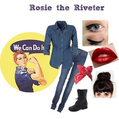 Rosie the Riveter Halloween Costume. Would be a really cool last-minute costume for a history buff . So easy! Rosie The Riveter Halloween Costume, Easy Halloween, Holidays Halloween, Halloween Party, Halloween Queen, Holiday Costumes, Cute Costumes, Costume Ideas, Red Head Halloween Costumes