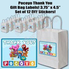 """Pocoyo Thank You Party Favor Gift Bag 3.75"""" x 4.5"""" Labels DIY Stickers"""