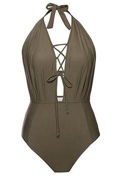 Joy/&Bella Floral Stripe Printing One-Piece Swimsuit Halter Bikini Set Bathing Suit Plus Size High-Waisted Swimwear Tankini