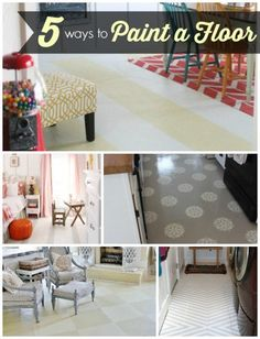 Decor Hacks : Have ugly floors and empty pockets? Painting your floors offers a low-cost solution! Check out these five amazing ideas for painting your floors! -Read More – Flooring Store, Painted Floors, Cement Floors, Hardwood Floors, Concrete Countertops, Laminate Flooring, Amazing Ideas, Decorating Tips, Home Projects