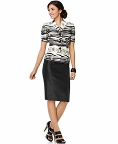 Le Suit Suit, Short Sleeve Printed Wing Collar Jacket & Shantung Pencil Skirt